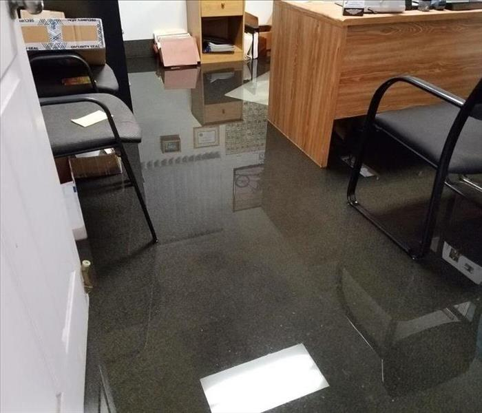 In Concord,  Water Flooding an Office